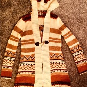 Cardigan with hood - Tribal style pattern
